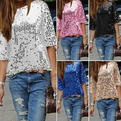 AU Women's Half Sleeve Sequin Sparkly Glitter Tops Party Clubwear Blouse T-shirt