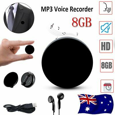 8GB Button Audio Mini Sound Voice Recorder Voice Activated Microphone MP3Player