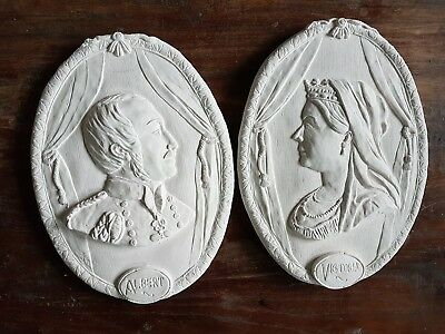 Queen Victoria & King Prince Albert Cameos portrait Wall Plaster Plaques