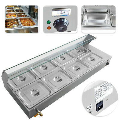 110V 8-Pan Catering Food Warmer Steam Table Bain-Marie Buffet Restaurant 1700 W