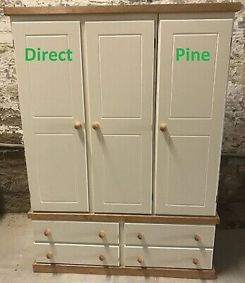 Camden Country Triple 4 Drawer Wardrobe Farmhouse Cream/Antique Pine Trims
