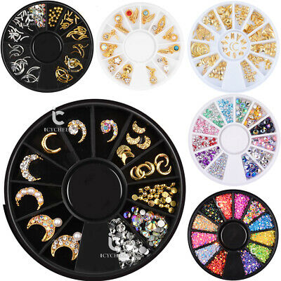 3D Nail Decoration Wheel Rhinestones Studs Acrylic Tips Nail Art Manicure Tools