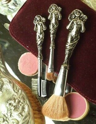 Victorian Trading Co. Vanity Essential Silver Cosmetic Brushes (set of 3) NIB