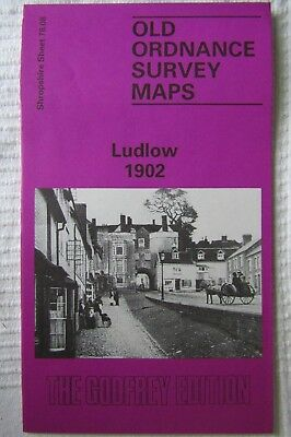 Detailed Old Ordnance Survey Double Sided Map Ludlow Shropshire 1902  78.08 New