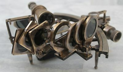Solid Brass Antique Sextant Vintage Reproduction Nautical Collectible Marine .