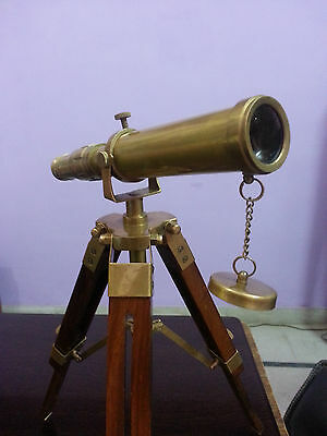 Navy Telescope W/Wood Stand~Solid Brass Nautical Pirate Spyglass~Ship Equipment.