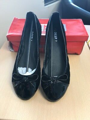 SCHUH BAMBI BOW BLACK PATENT LEATHER LOOK BALLERINA FLAT PUMPS SHOES SIZE 7 NEW