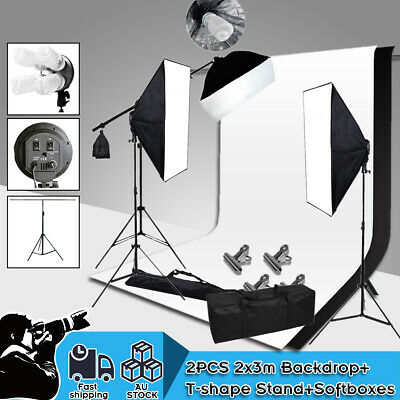 Studio Video Softbox Continuous Lighting Boom Arm Photography Backdrop Stand Kit
