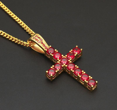 4ct Round Cut Pink Ruby Christ Cross Pendant 14ct Yellow Gold Over NO CHAIN