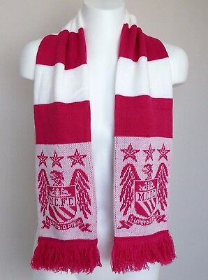 Manchester City FC Crest Knitted Bar Scarf Pink/White Brand New