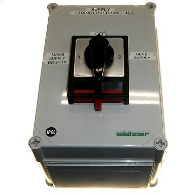 Salzer 3 Position 63 Amp Changeover Switch Mains to Generator Waterproof IP66