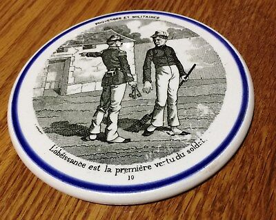 Antique Pair Of French GIEN Coasters/Plate Warmers - Military Seines