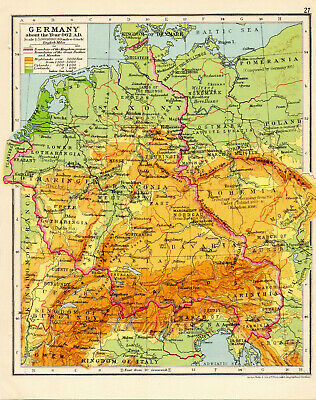 Map Of Germany 962 AD George Philip & Son Vintage 1929
