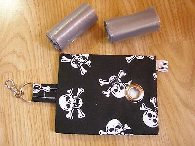 Handmade Fabric Dog Poo Poop Bag Holder Dispenser Skull & Cross Bones
