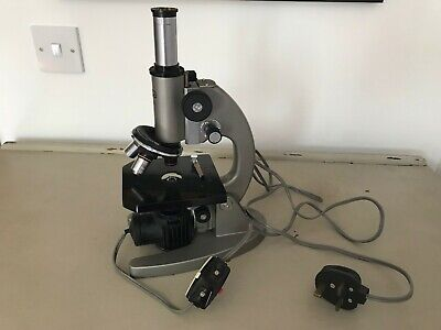 OLYMPUS HSC Vintage Lighted Microscope (with case, x 3 lenses)