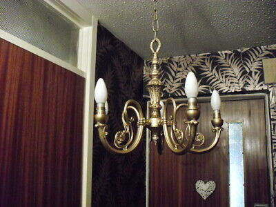 option of ONE of 2 vintage french ornate heavy brass 5 arm chandeliers
