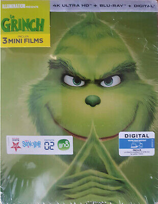 Le Grinch Steelbook Blu Ray 4K Ultra Hd + Blu Ray Neuf Sous Cellophane