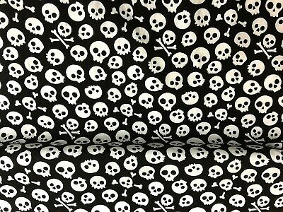 New Polycotton Fabric Black Skulls Pirate Halloween Material CRAFT