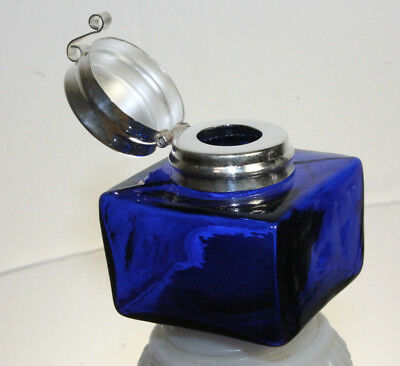 Vintage Antique Style Square Cobalt Blue Glass Inkwell Bottle ink