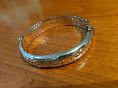 Stunning Hallmarked Vintage Sterling Silver Bangle, Chester 1955 Joseph Smith
