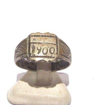 MARVELOUS TOP QUALITY BRONZE ANTIQUE 1900's PERSONAL RING,YEAR INSCRIBED # 698