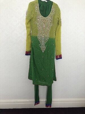 Womens Asian Mehndi Outfit Size S/M Green & Yellow