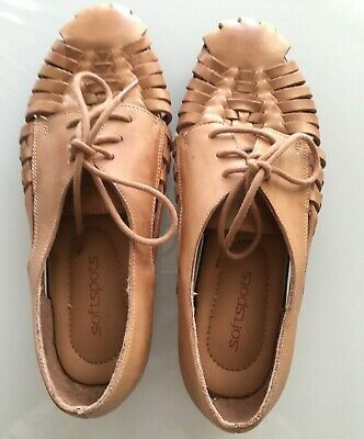 d57487cb02f10 SOFTSPOTS TAN   Brown Leather Huarache Style Sandals Made in Mexico ...