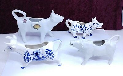 Lot Of 4 Vintage Blue And White Porcelain Cow Creamers France & Holland & Others