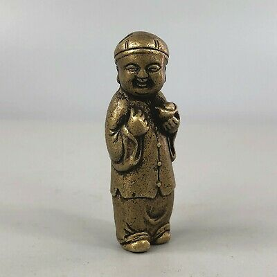 Exquisite Chinese Collectible old Brass Handwork Little Wealthy God statue