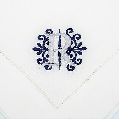 Monogram Table Linen Napkins Hemstitched Personalised Embroidered French Style