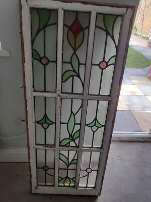 Pair Of Victorian Coloured Stained Glass Windows.