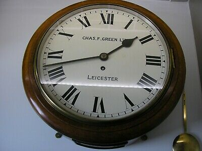 antique wall clock oak cased English dial 1905 by Charles Green of Leicester