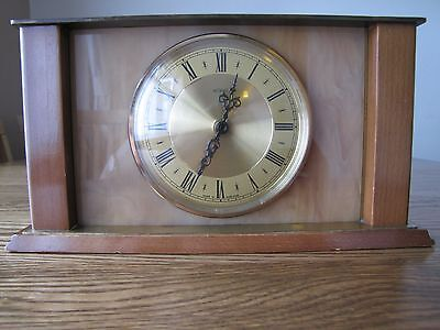 Metamec Quartz Onyx Brass Wood Working UK Vintage Mantle Clock 60s/70's VGC