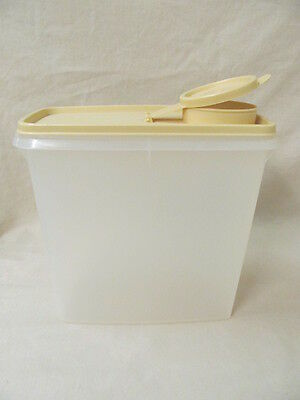 Vtg Tupperware Sheer Cereal/Snack Storage Container w/Beige Gold Pour Lid 469-6