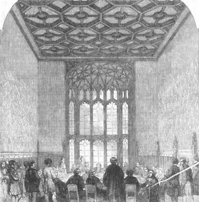 HOUSE OF COMMONS. Palace of Westminster. Committee-Room. London, old print, 1857