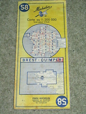 France: Michelin map 58 Brest-Quimper scale 1:200,000. Vintage 1968 edition