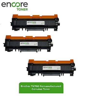 3pk Brother TN-760 TN760 Toner HL-L2370DW HL-L2390 HL-L2395DW MFC-L2710DW w/chip