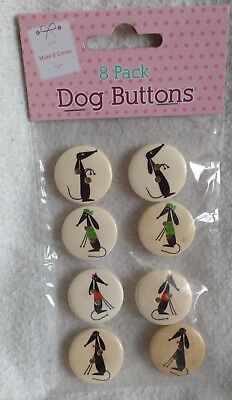8 Wooden Black Greyhound Sighthound Dog Buttons For Crafting New & Sealed