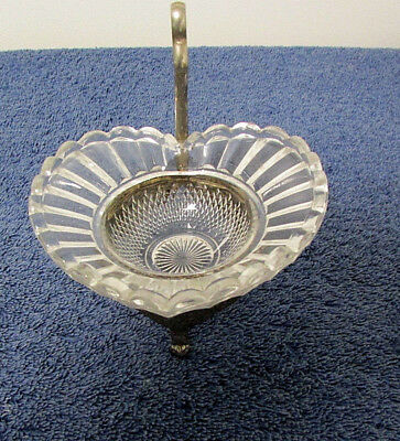 ANTIQUE Candy Dish CRYSTAL HEART Trinket Dish Eagle Stand Silver-Plated HH39