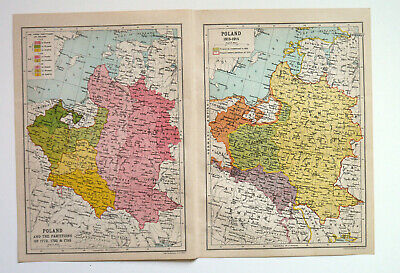 WW1 Map Of Poland Partitions & 1815 - 1914