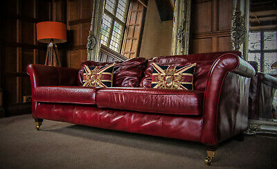 Victorian Style Brandy Tan Red Antique Leather Chesterfield 3/4 Seater Club Sofa