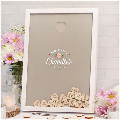 PERSONALISED Wedding Guest Book Alternative Rustic Drop Box Frame With Hearts