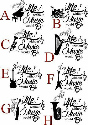 Personalised Unisex Without Music Life Would B Flat with First Name X6S018-N1040