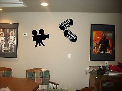 movie tickets and camera wall art mural theater room projector cinema decals
