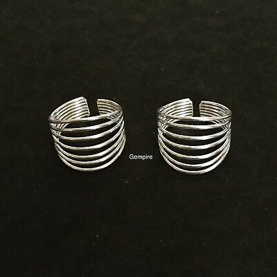 Sterling Silver Toe ring Adjustable Multi Band Spiral Foot Jewelry Beach Women
