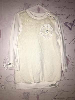Little Darlings Cream Fur Cute Romany Baby Girl Party Dress Authentic 2 Year 3