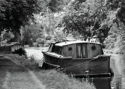Wooden boat canal classic cruiser greeting card birthday notelet thank you art
