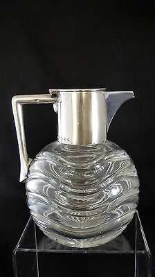 V Fine and Unusual Victorian Glass and Silver Claret Jug by John Grisell 1891