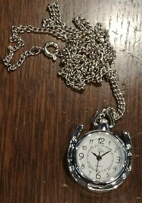 Victorian Trading Round Silver Tone Pocket Watch Lucky Horseshoe Necklace 28D