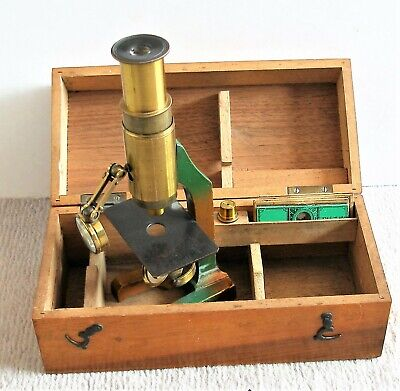 Antique Cased Small MICROSCOPE with Condensing Lens,slides & Objectives